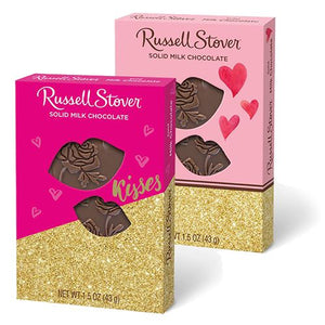 All City Candy Russell Stover Solid Milk Chocolate Heart in Kisses Gift Box 1.5 oz. Valentine's Day Russell Stover For fresh candy and great service, visit www.allcitycandy.com