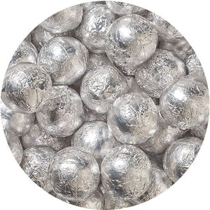 All City Candy Silver Foiled Solid Milk Chocolate Balls - 2 LB Bulk Bag Bulk Wrapped SweetWorks Default Title For fresh candy and great service, visit www.allcitycandy.com