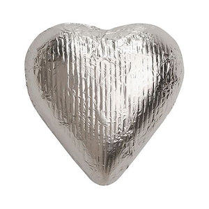 All City Candy Silver Foiled Solid Milk Chocolate Hearts - 2 LB Bulk Bag Bulk Wrapped SweetWorks Default Title For fresh candy and great service, visit www.allcitycandy.com