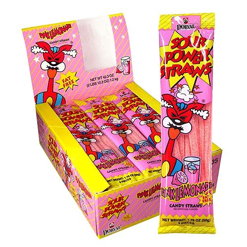 Sour Power Pink Lemonade Candy Straws - 1.75-oz. Pack For fresh candy and great service, visit us at www.allcitycandy.com
