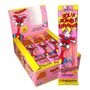 All City Candy Sour Power Pink Lemonade Candy Straws - 1.75-oz. Pack Sour Dorval Trading Case of 24 For fresh candy and great service, visit www.allcitycandy.com