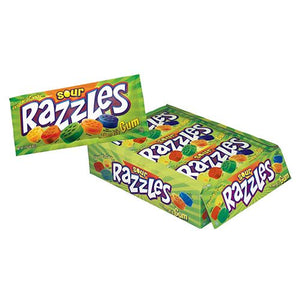 All City Candy Sour Razzles Candy - 1.4-oz. Pouch Gum/Bubble Gum Concord Confections (Tootsie) Case of 24 For fresh candy and great service, visit www.allcitycandy.com