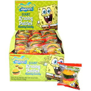 All City Candy SpongeBob SquarePants Giant Krabby Patties Gummy Candy - 36 Piece Case Frankford Candy Default Title For fresh candy and great service, visit www.allcitycandy.com