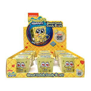 All City Candy SpongeBob SquarePants Great Catch Heart Sours Candy - 1.5-oz. Tin Novelty Boston America Case of 12 For fresh candy and great service, visit www.allcitycandy.com