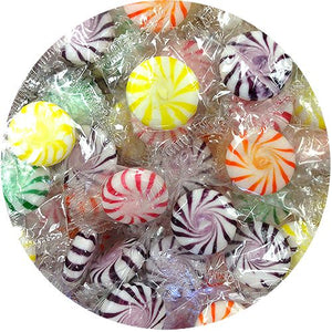 All City Candy Starlight Assorted Fruit Pinwheels Hard Candies - 3 LB Bulk Bag Bulk Wrapped Sunrise Confections For fresh candy and great service, visit www.allcitycandy.com