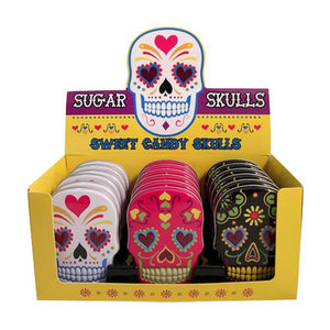 All City Candy Sugar Skulls Sweet Candy Skulls - 1.3-oz. Tin Novelty Boston America Case of 18 For fresh candy and great service, visit www.allcitycandy.com