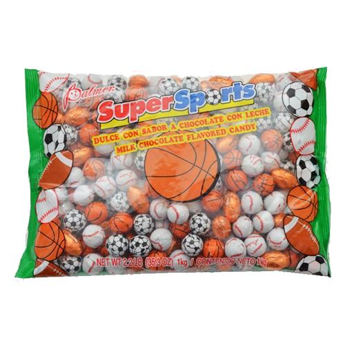 Super Sports Foiled Milk Chocolate Balls - 2.2 LB Bulk Bag For fresh candy and great service, visit us at www.allcitycandy.com