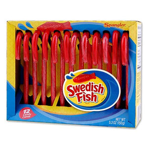 All City Candy Swedish Fish Candy Canes - Box of 12 Christmas Spangler For fresh candy and great service, visit www.allcitycandy.com