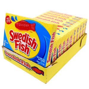 All City Candy Swedish Fish Soft & Chewy Candy - 3.1-oz. Theater Box Theater Boxes Mondelez International Case of 12 For fresh candy and great service, visit www.allcitycandy.com