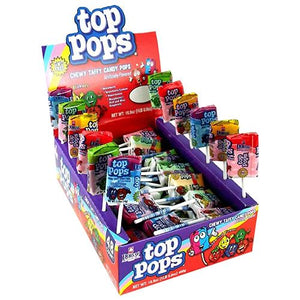 All City Candy Top Pops Assorted Taffy Pops - Case of 48 Lollipops & Suckers Dorval Trading For fresh candy and great service, visit www.allcitycandy.com