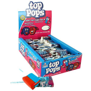 All City Candy Top Pops Blazpberry Taffy Pops - Box of 48 Lollipops & Suckers Dorval Trading For fresh candy and great service, visit www.allcitycandy.com