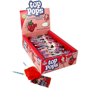 All City Candy Top Pops Strawberry Taffy Pops - Case of 48 Lollipops & Suckers Dorval Trading For fresh candy and great service, visit www.allcitycandy.com