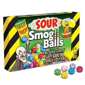 All City Candy Toxic Waste Sour Smog Balls Candy - 3.5-oz. Theater Box Theater Boxes Candy Dynamics Case of 12 For fresh candy and great service, visit www.allcitycandy.com
