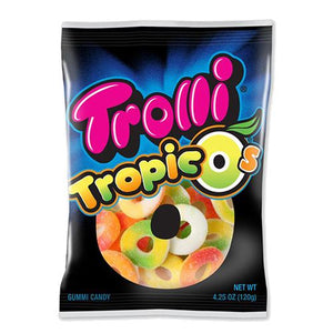 All City Candy Trolli Tropic O's Gummi Candy - 4.25-oz. Bag Gummi Trolli (Ferrara) 1 Bag For fresh candy and great service, visit www.allcitycandy.com