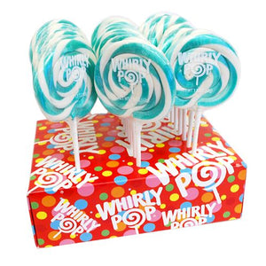 "All City Candy Turquoise & White Blue Raspberry Whirly Pop 1.5 oz., 3"" Lollipops & Suckers Adams & Brooks Case of 24 For fresh candy and great service, visit www.allcitycandy.com"
