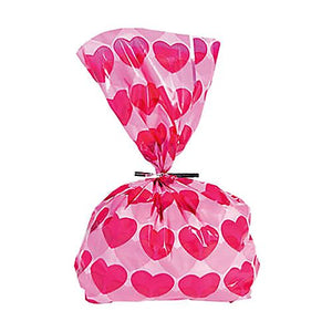 All City Candy Valentine Heart Cellophane Treat Bags - Pack of 12 Candy Buffet Supplies Fun Express For fresh candy and great service, visit www.allcitycandy.com
