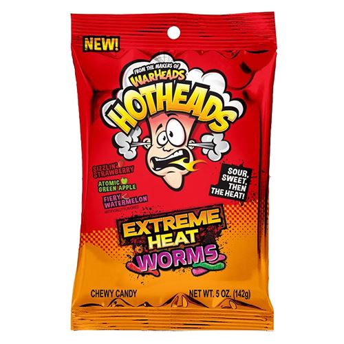 WarHeads HotHeads Extreme Heat Worms Chewy Candy - 5-oz. Bag For fresh candy and great service, visit us at www.allcitycandy.com