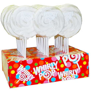 "All City Candy White Vanilla Whirly Pop 1.5 oz., 3"" Lollipops & Suckers Adams & Brooks Case of 24 For fresh candy and great service, visit www.allcitycandy.com"