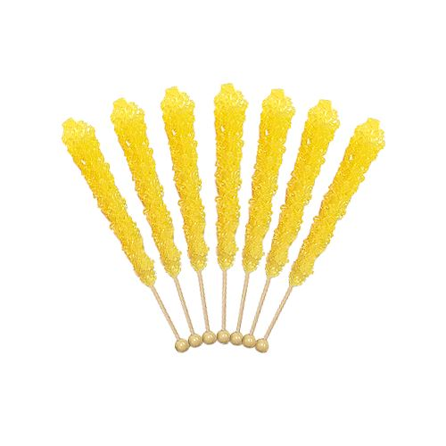 Yellow Banana Flavored Rock Candy Crystal Sticks - Tub of 36 For fresh candy and great service, visit us at www.allcitycandy.com