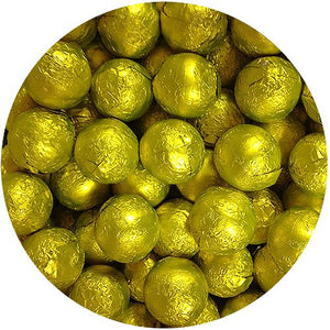 All City Candy Yellow Foiled Solid Milk Chocolate Balls - 2 LB Bulk Bag Bulk Wrapped SweetWorks For fresh candy and great service, visit www.allcitycandy.com