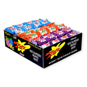 All City Candy Zotz Fizz Power Candy Strings Blue Raspberry, Orange & Grape - Case of 48 Novelty G.B. Ambrosoli For fresh candy and great service, visit www.allcitycandy.com