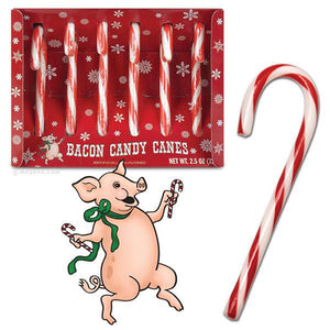 Archie McPhee Old Fashioned Bacon Candy Canes - Box of 6
