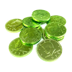 Fort Knox Kiwi Green Milk Chocolate Coins - 1 LB Mesh Bag