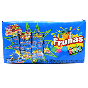 Frunas Sour Blue Raspberry Fruit Chews - Pack of 48