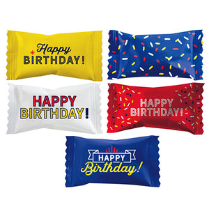 """Happy Birthday"" Wrapped White Buttermints - Bag of 110"