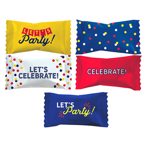 """Let's Celebrate"" Wrapped White Buttermints - Bag of 110"