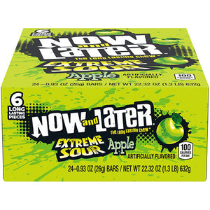 Now and Later Extreme Sour Apple Fruit Chews 6-Pack