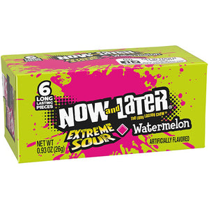 Now and Later Extreme Sour Watermelon Fruit Chews 6-Pack