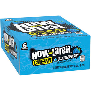 Now and Later Chewy Blue Raspberry Candy 6-Pack - Case of 24