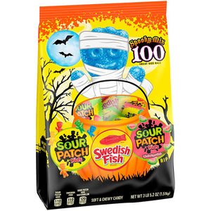 Sour Patch and Swedish Fish Spooky Mix Treat Size Bags - Bag of 100