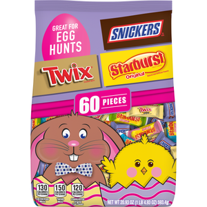 Mars Easter Miniatures Variety Bag: Twix, Starburst, Snickers - 60 Piece Bag