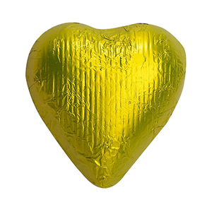 Yellow Foiled Solid Milk Chocolate Hearts - 2 LB Bulk Bag
