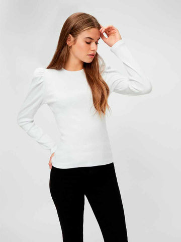 Pieces - PcAnna LS Top - Bright White Bluser