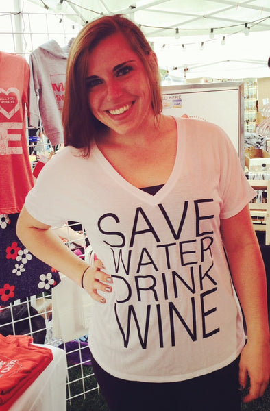 Save Water Drink Wine White V-Neck T-Shirt - Sugar Pie Tees T-Shirt