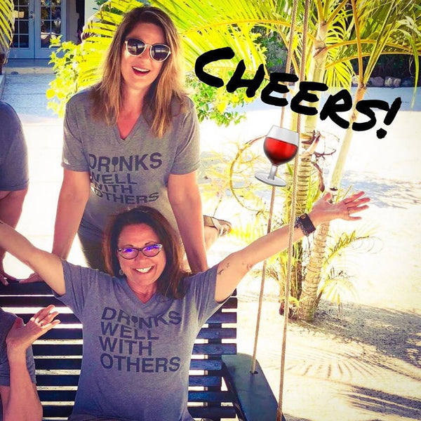 Drinks Well With Others (Wine) V-Neck T-Shirt