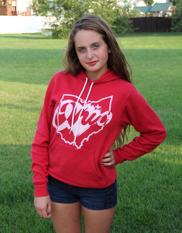 Heart Of Ohio Adult Red Hoodie - Sugar Pie Tees T-Shirt
