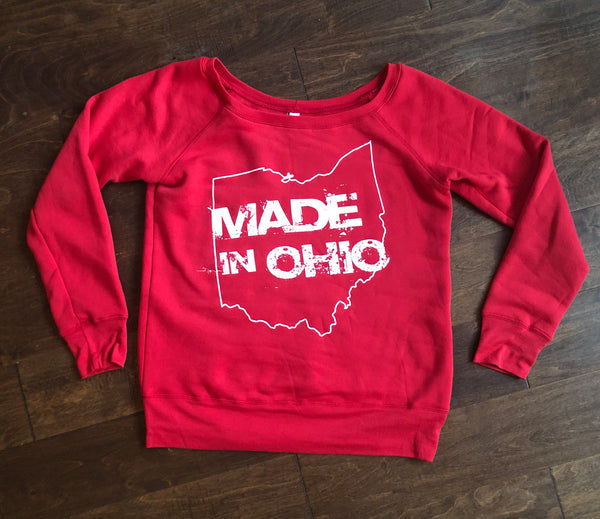 Made In Ohio Women's Scoop Neck Red Fleece Sweatshirt - Sugar Pie Tees T-Shirt