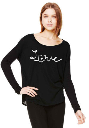 Love Ohio Flowy Long Sleeve - Black - Sugar Pie Tees T-Shirt