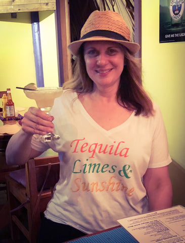 Tequila Limes & Sunshine V-Neck T-Shirt - Sugar Pie Tees T-Shirt