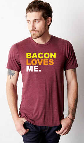 Bacon LOVES ME Maroon Crew T-Shirt
