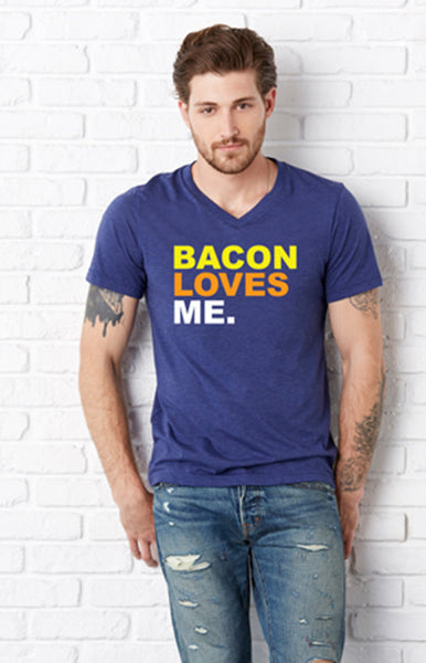 BACON LOVES ME Navy V-Neck