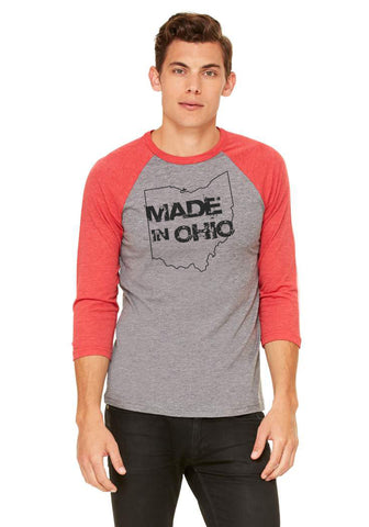 Made in Ohio Gray Baseball Tee/Red Sleeves