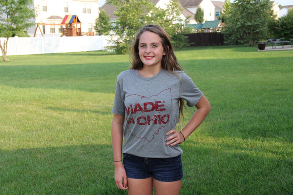 Made In Ohio Gray Crew Neck T-Shirt - Sugar Pie Tees T-Shirt