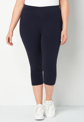 LEG-A {Worship You} Navy Cotton/Spandex Leggings PLUS SIZE