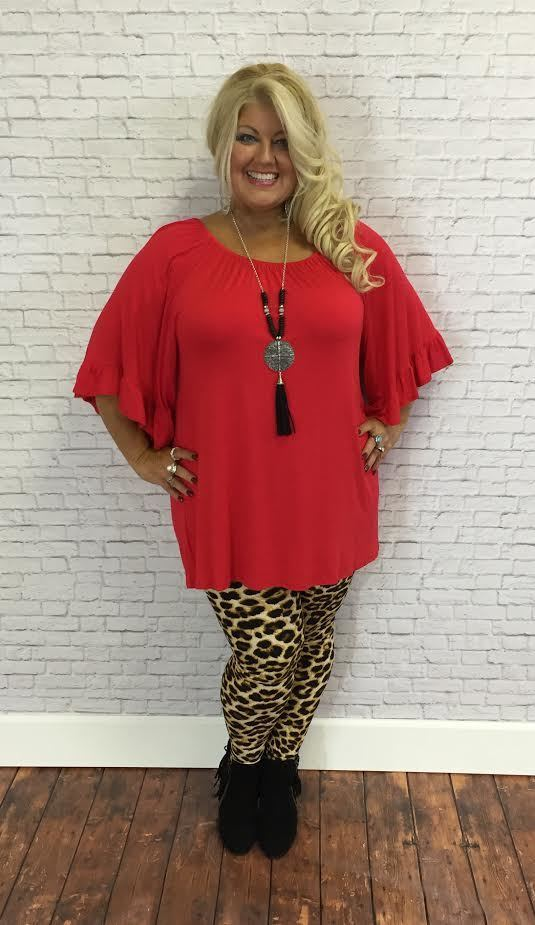 #9-W RED Wide-Sleeve Tunic (Rayon/Spandex)