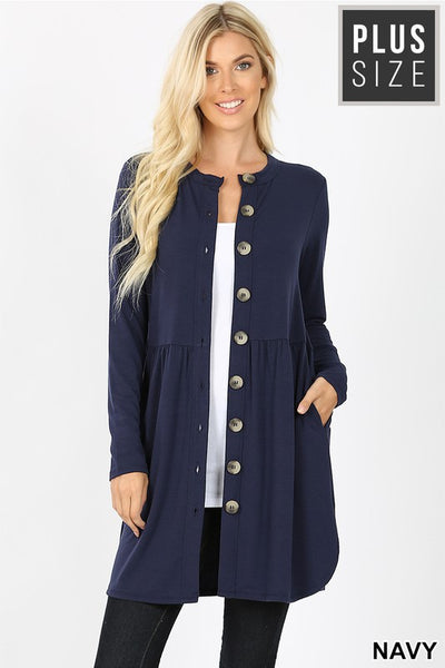 OT-K {Well Traveled} NAVY Cardigan with Functional Buttons PLUS SIZE 1X 2X 3X